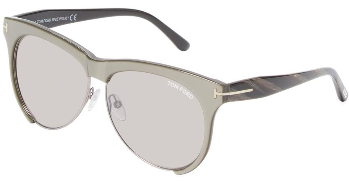 444b54cddb92 Lyst - Tom Ford Leona Acetate   Metal Round Frame in Gray