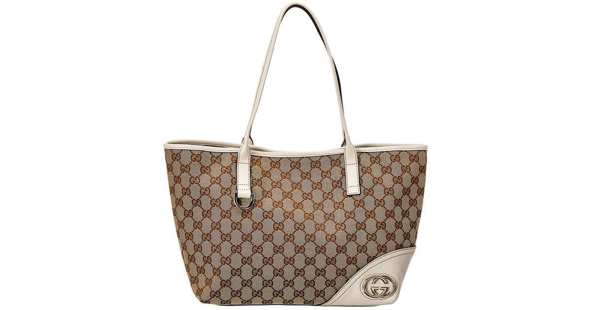 af71b66b65d3 Gucci Brown GG Canvas & Cream Leather Britt Tote in Brown - Lyst