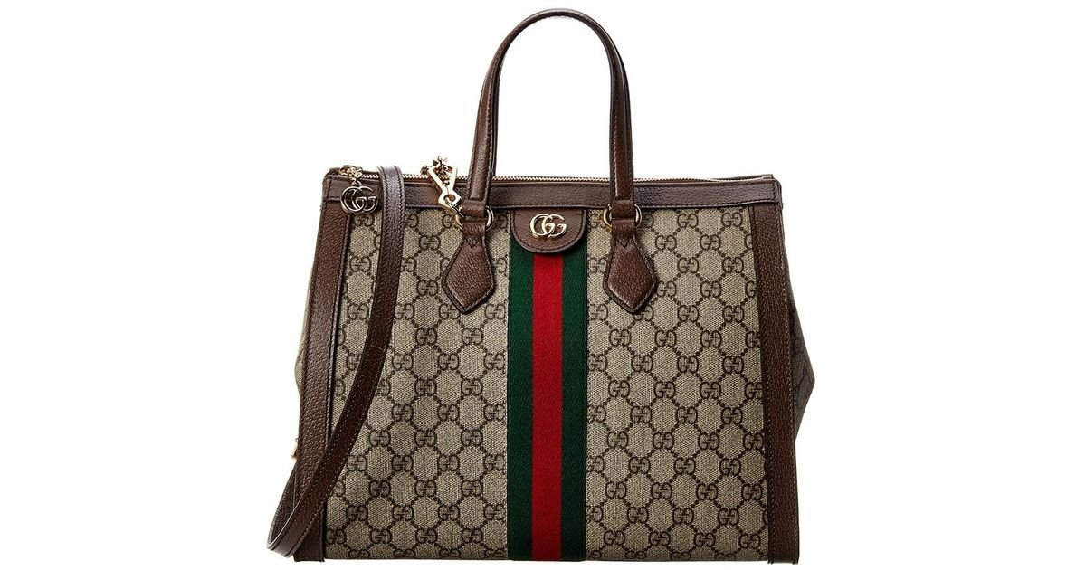 19b9ec655943 Gucci Ophidia GG Medium Supreme Canvas & Leather Top Handle Tote - Lyst