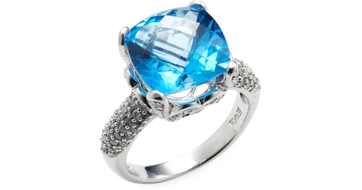 topaz image a cushion ring blue cut gold rings white