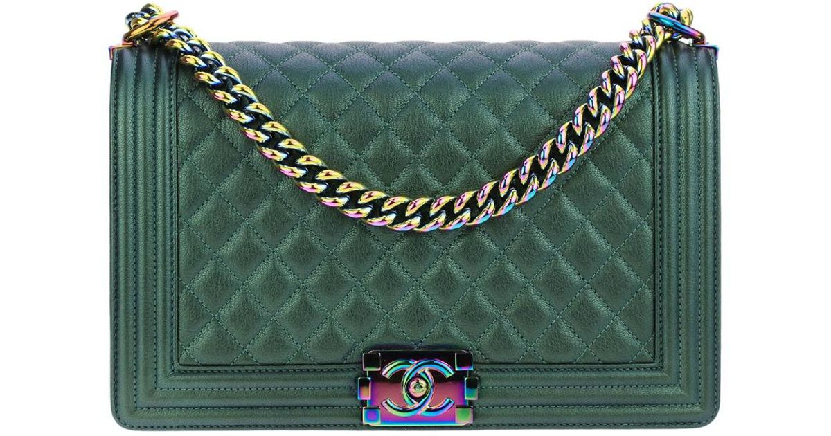 2fe91595c378 Chanel Limited Edition Green Quilted Calfskin Leather Single Flap Boy Bag  in Green - Lyst