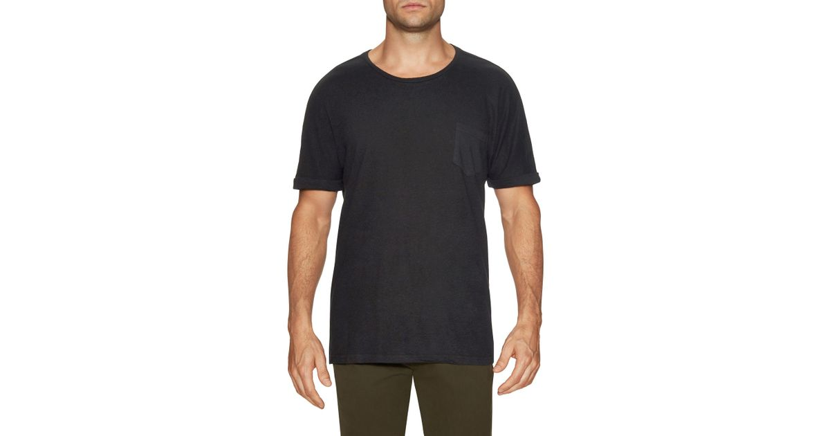 0e040a8dc3550 Lyst - Shades Of Grey By Micah Cohen Rolled Cuff Pocket Tee in Black for Men