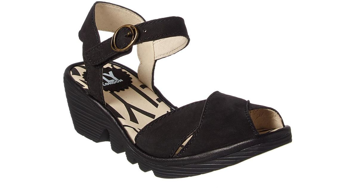 d759c2b16109 Fly London Pero Leather Wedge Sandal in Black - Lyst