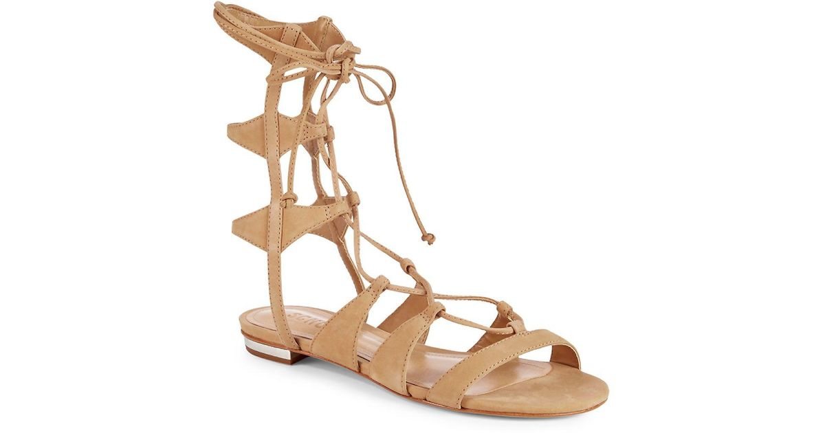 0992dac6a23d Schutz Elina Lace-Up Sandals in Natural - Lyst