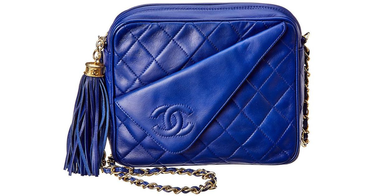 bdcae8d0deab Chanel Navy Quilted Lambskin Leather Camera Bag in Blue - Lyst