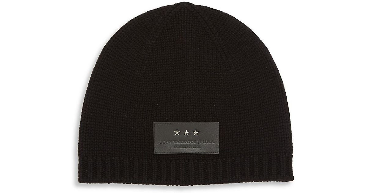 Lyst - John Varvatos Knit Wool   Cashmere Blend Beanie in Black f96da830234