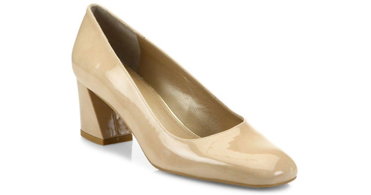 eff16ec7403 Lyst - Stuart Weitzman Marymid Patent Leather Block Heel Pumps in Natural