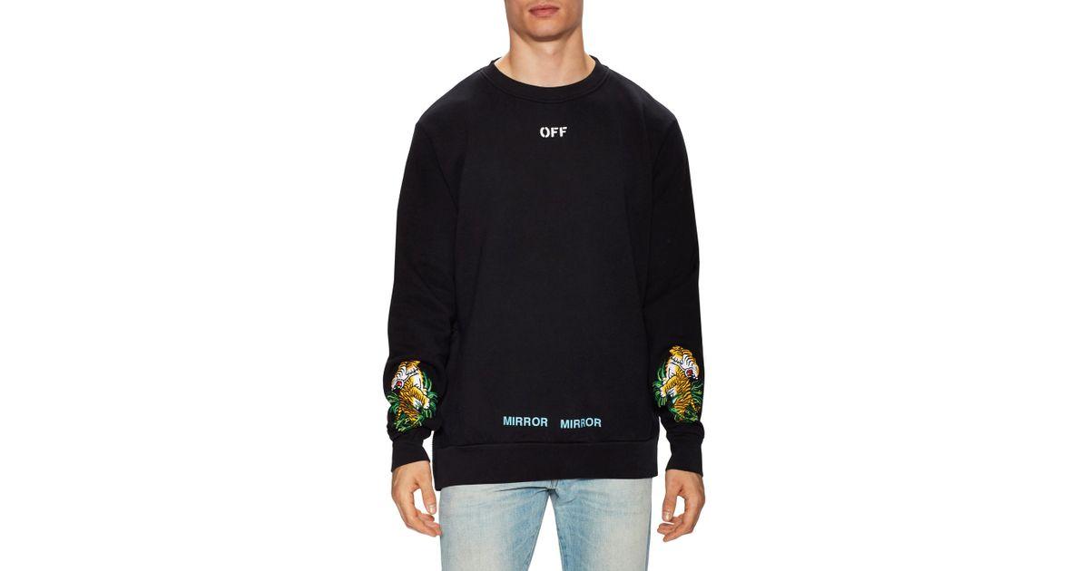 94f12f47f Off-White c/o Virgil Abloh Tiger Embroidered Crewneck Sweatshirt in Black  for Men - Lyst