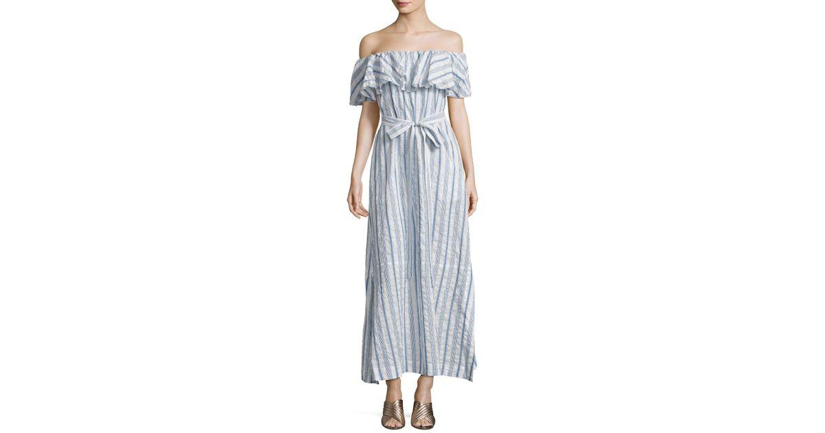 c08b79386e Lyst - Lisa Marie Fernandez Mira Sheer Flounce Dress in Blue