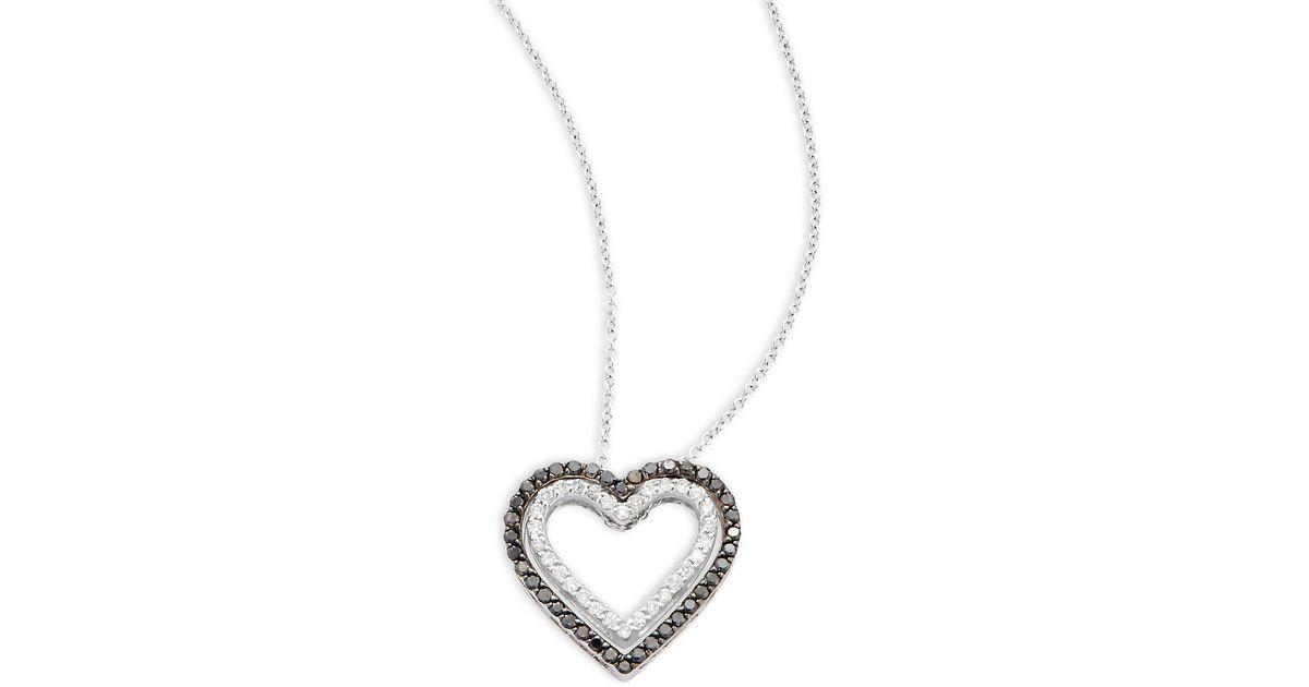 Lyst effy diamond 14k white gold heart shaped pendant necklace lyst effy diamond 14k white gold heart shaped pendant necklace in metallic aloadofball Choice Image