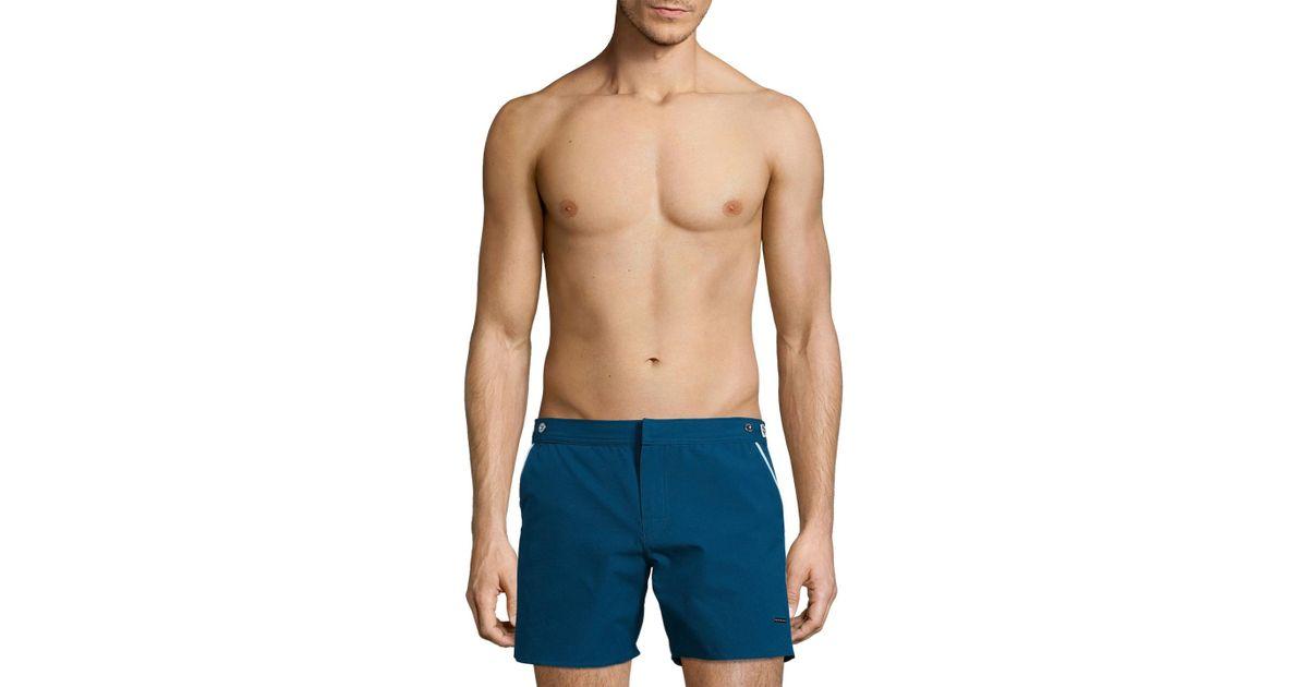 45fbb8d24e Parke & Ronen Catalonia Stretch Swim Trunks in Blue for Men - Lyst