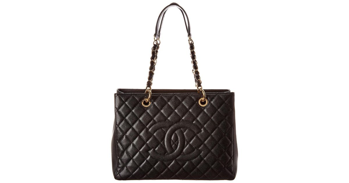 2e6c0178abaa Lyst - Chanel Black Quilted Caviar Leather Grand Shopping Tote in Black -  Save 10%