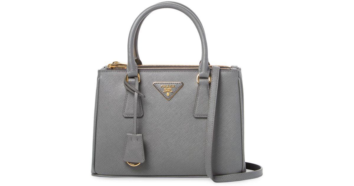 c5bd0da866c3 ... discount lyst prada galleria double zip small saffiano leather tote  0f580 e866d