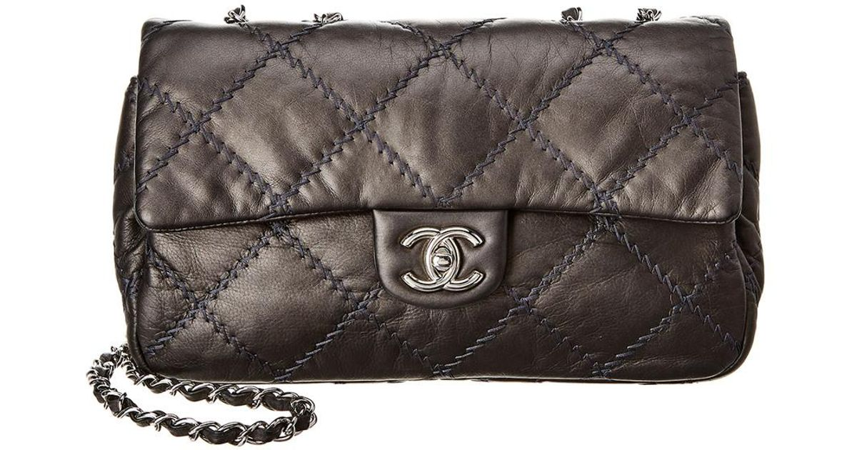 6b4d7d448f61 Chanel Grey Quilted Lambskin Leather Ultimate Stitch Medium Flap Bag in Gray  - Lyst