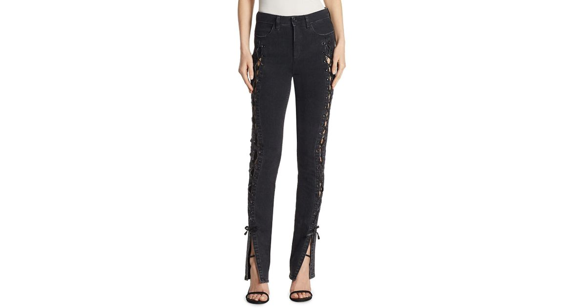 d84943bc216 Lyst - Jonathan Simkhai Lace-up Slit Stovepipe Jeans in Black