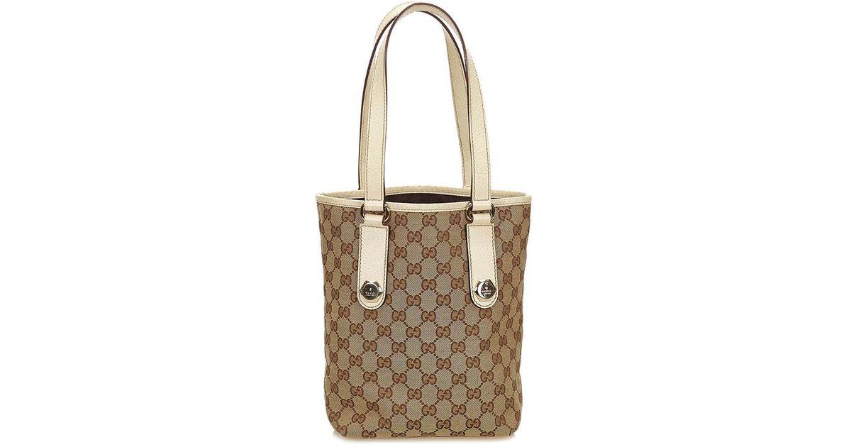 8f33b31d018e Gucci Brown Ssima Jacquard   White Leather Tote in Brown - Lyst