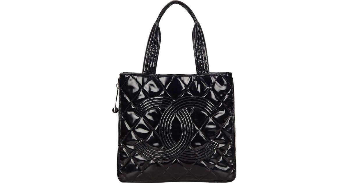 58babd521981 Chanel Black Patent Leather Wild Stitch Medallion Tote in Black - Lyst