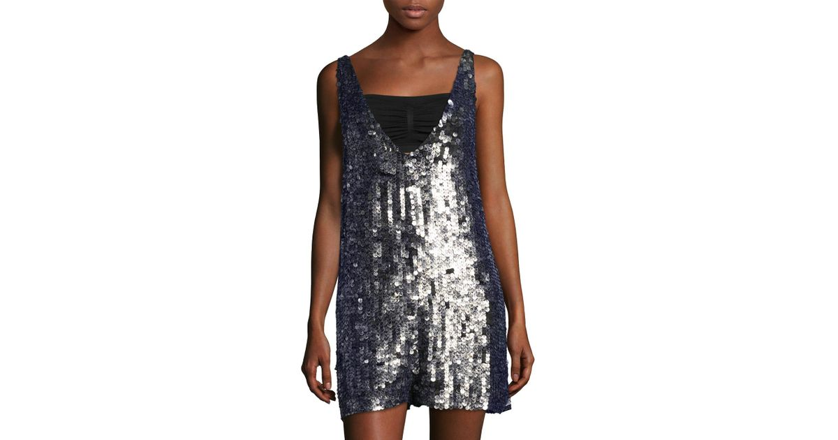 87e03dd8a90d Lyst - Free People Fools Gold Sequin Romper in Blue