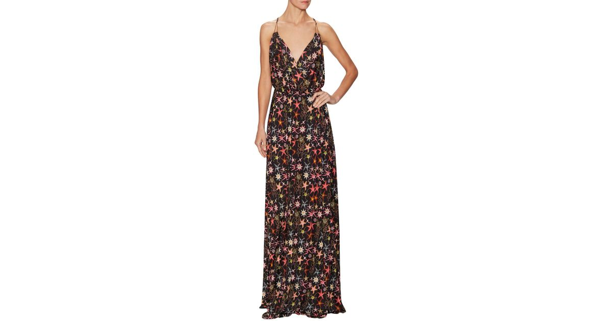 f66b6e6d69c Lyst - Versace Starfish Printed V-neck Maxi Dress in Black