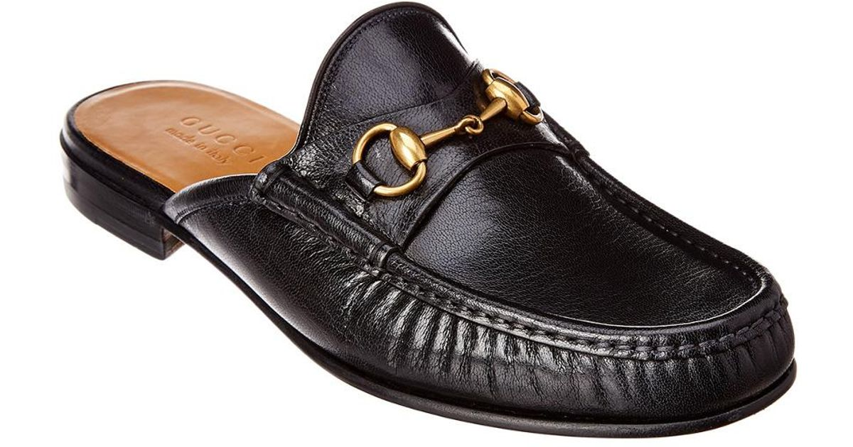 81c4658a5416 Lyst - Gucci Horsebit Leather Slipper in Black for Men