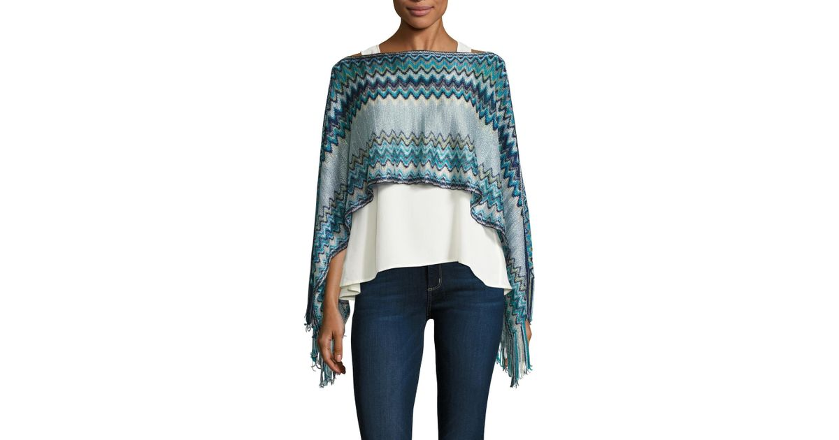 d2a2f07022230 Lyst - Missoni Crochet Fringe Trimmed Poncho in Blue