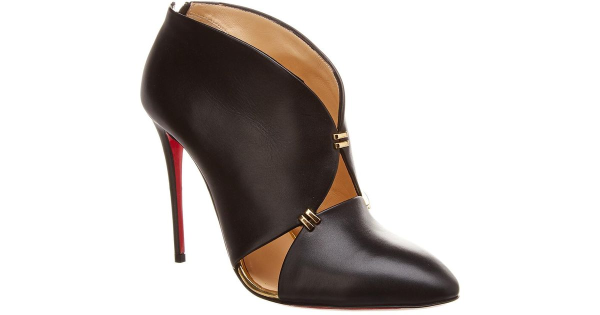 9740bd35151 Christian Louboutin Dictact 100 Leather Bootie in Black - Save  0.0700280112044851% - Lyst