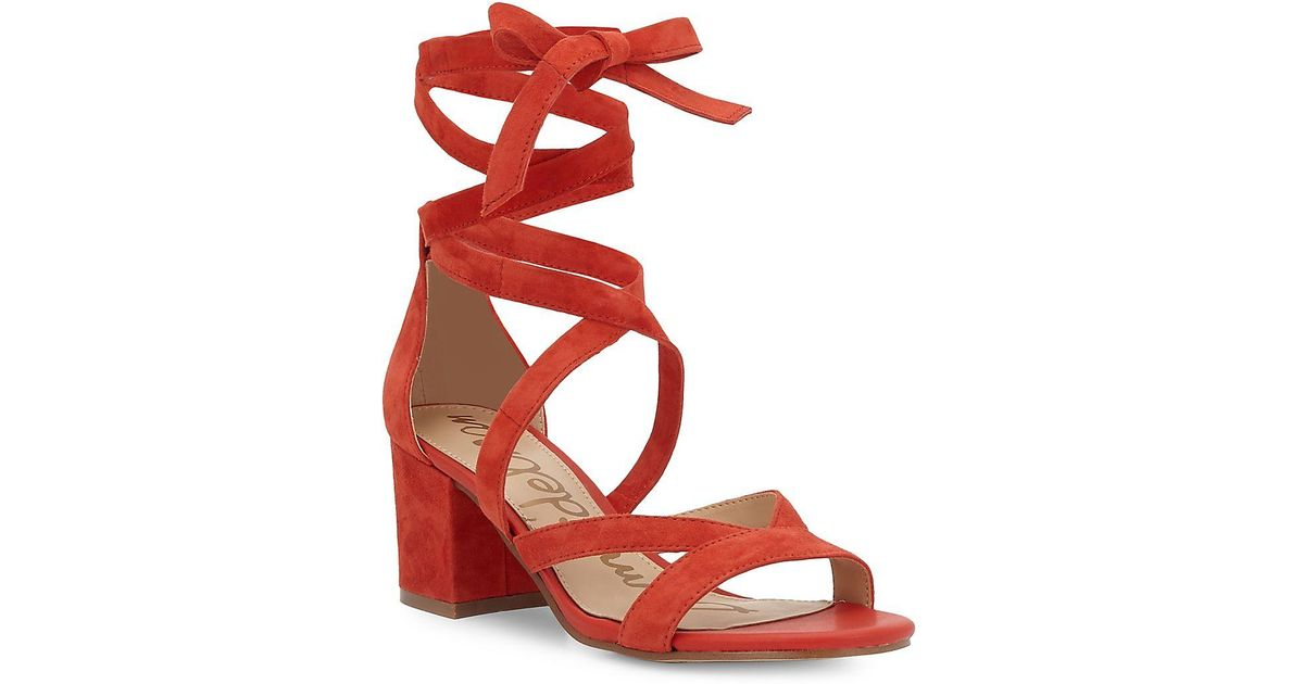 3970606bb0b Lyst - Sam Edelman Sheri Suede Block Heel Sandals in Red