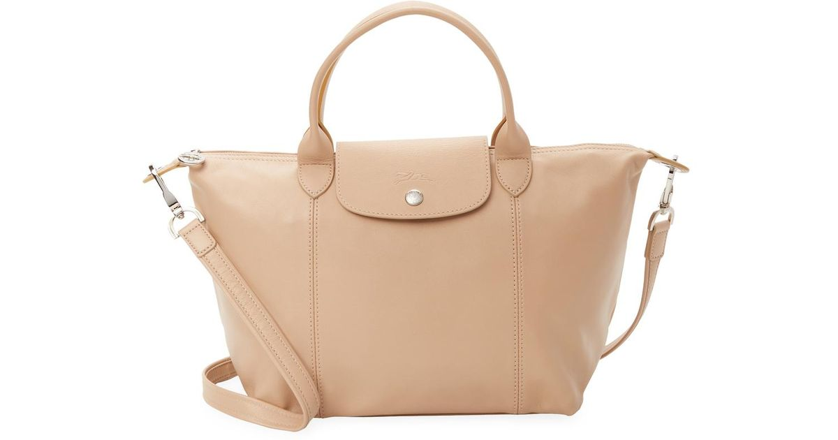 d90b7d02e818 Longchamp Le Pliage Cuir Leather Small Top Handle in Natural - Lyst