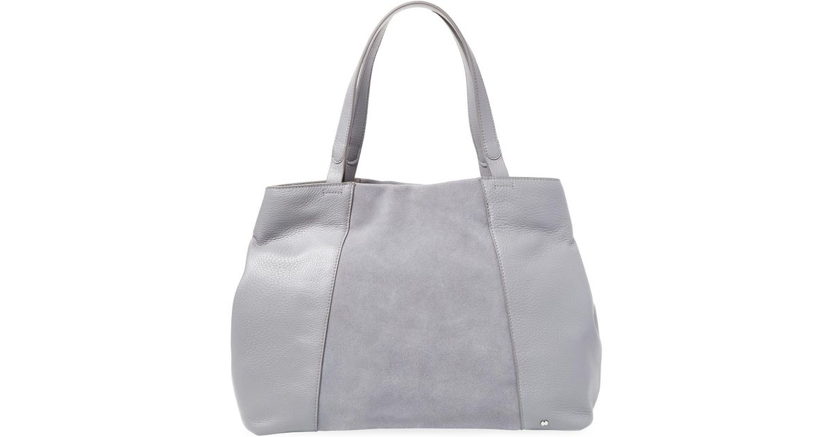 Halston Heritage Leather Tote in Gray - Lyst f6e2bb13fc9aa