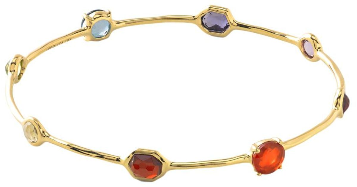 Ippolita 18k Gold Rock Candy Nine-Stone Bangle, Fall Rainbow