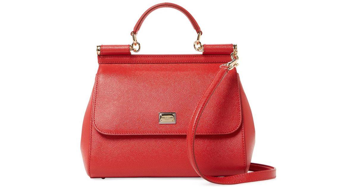 9bb8eb87cd7 Womens Red Sicily Handbag  cheap for discount 481f8 a7ed7 Lyst - Dolce  Gabbana Sicily Medium Textured Leather Satchel ...