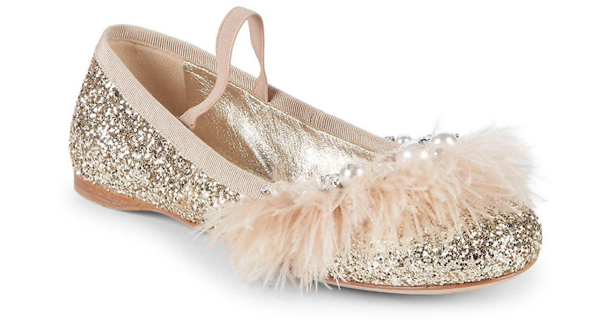 41f81b75f55 Lyst - Miu Miu Feather Glitter Ballet Flats in Metallic