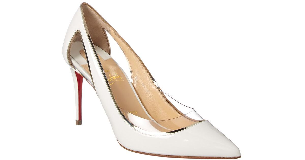 d8fb8f0d304a Lyst - Christian Louboutin Cosmo 554 Patent Leather Pumps in White - Save  18%