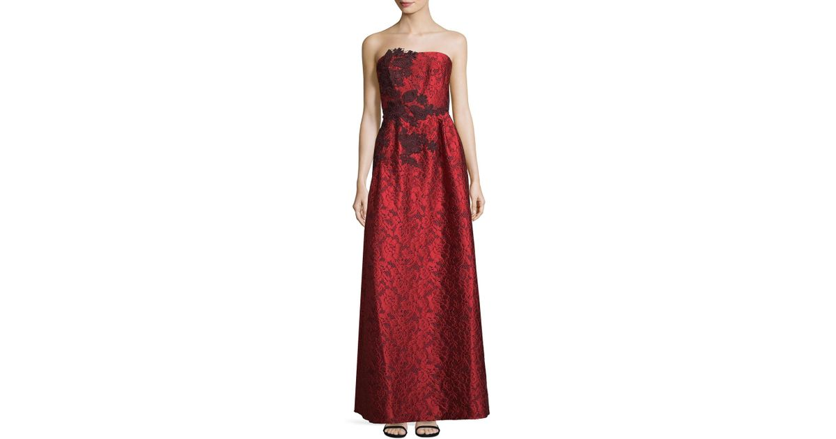Lyst - Ml Monique Lhuillier Lace Evening Gown in Red