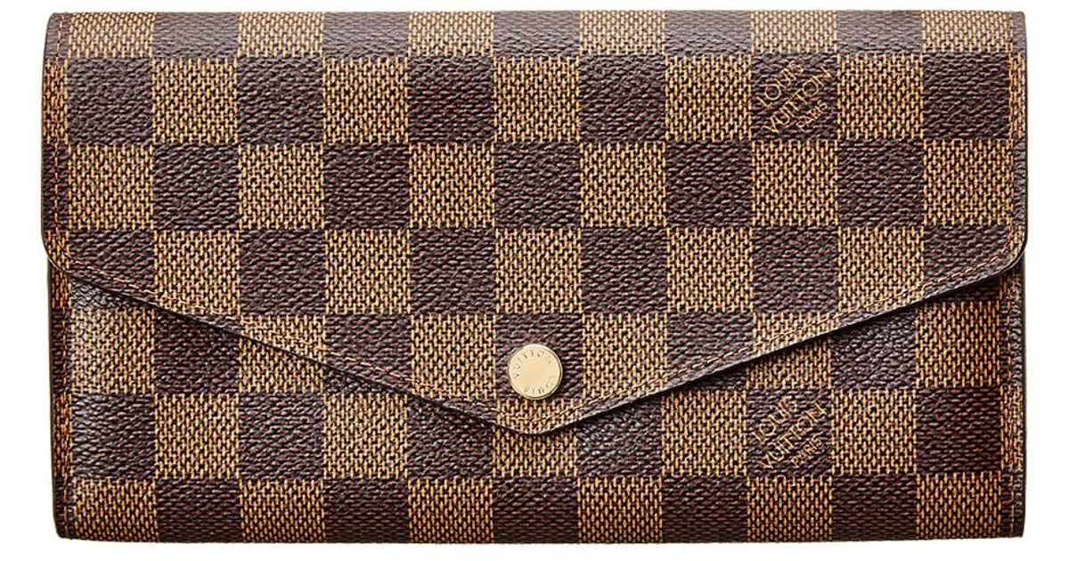 24cacb60bf2 Louis Vuitton - Brown Damier Ebene Canvas Sarah Wallet Nm - Lyst
