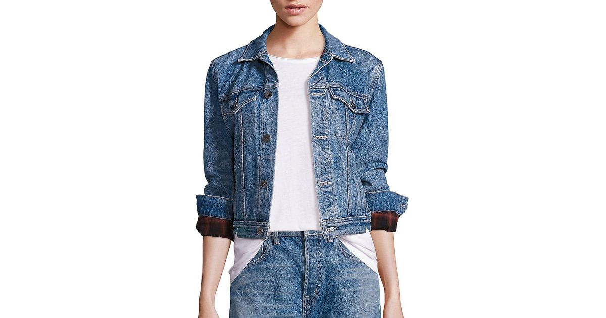 c66b3d7d604 Helmut Lang Flannel Inserts Denim Jacket in Blue - Lyst