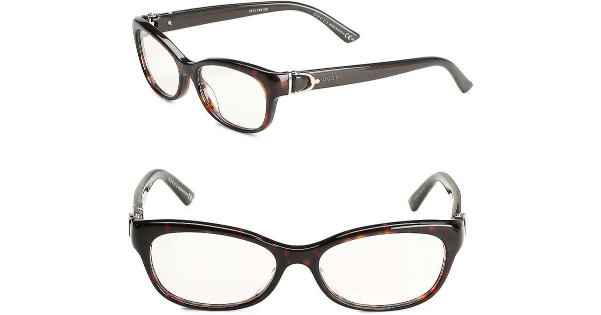6082b757cd4 Lyst - Gucci 50mm Oval Tortoiseshell Optical Glasses in Brown