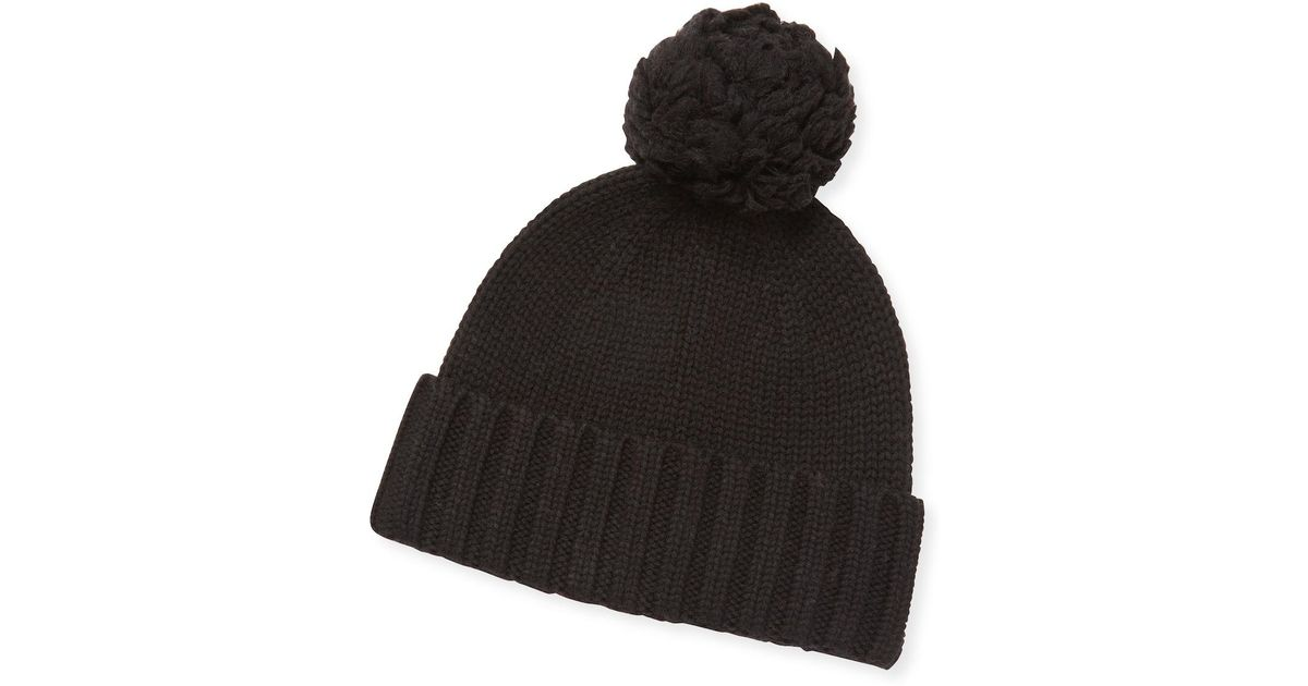 854f1762597 Lyst - UGG Wool Blend Ribbed Pom Pom Hat in Black