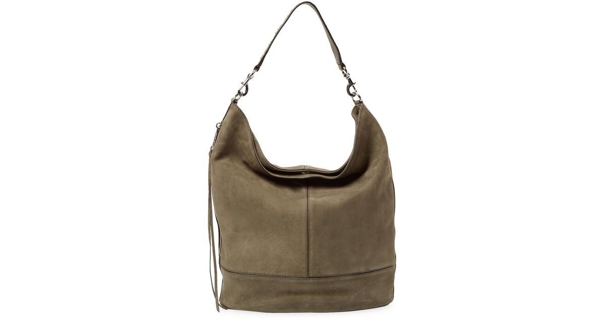 8ae74dd6c1b Lyst - Rebecca Minkoff Nubuck Leather Bucket Hobo in Green