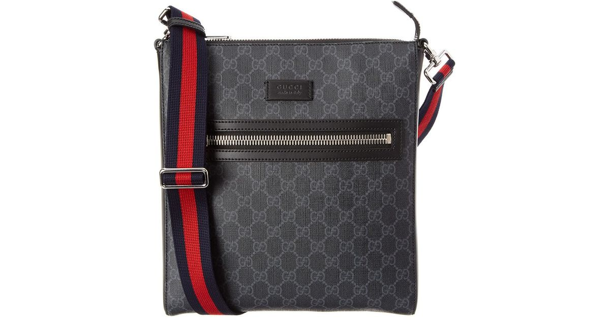 e5d9830637074d Lyst - Gucci GG Supreme Canvas & Leather Messenger Bag in Black for Men