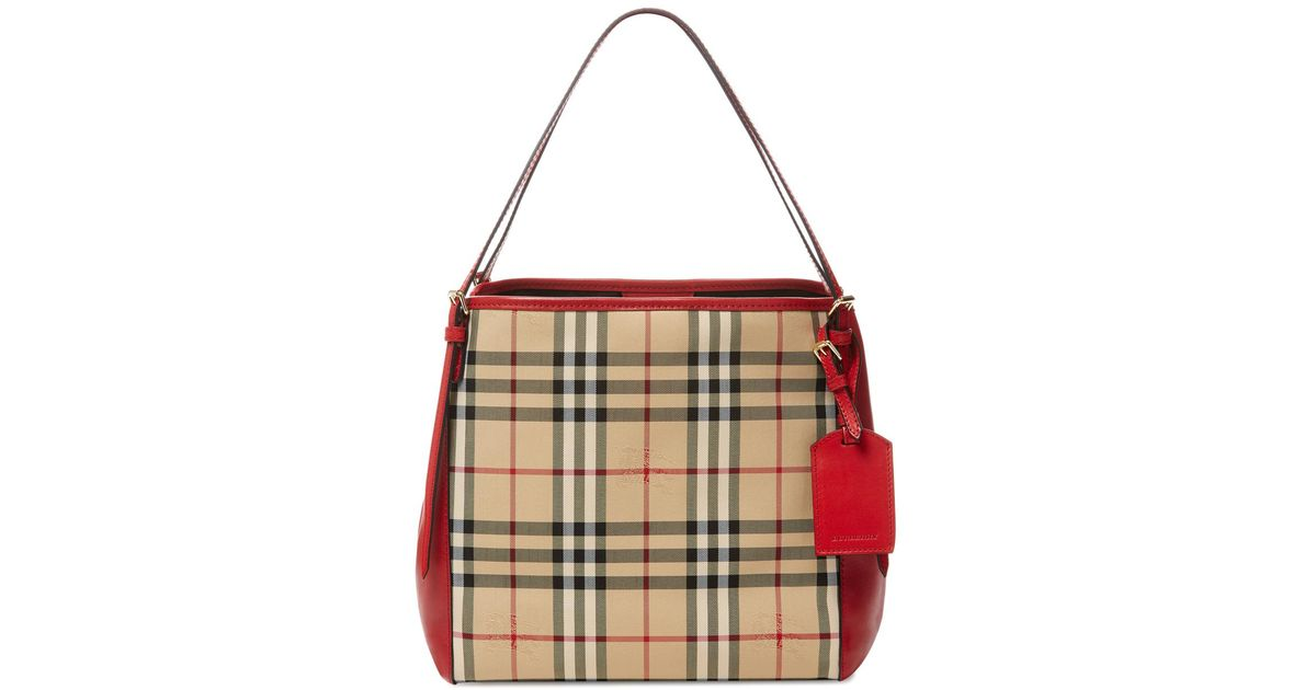 Lyst - Burberry Small Horseferry Check Leather Canterbury Tote 26c1e7f8b0965
