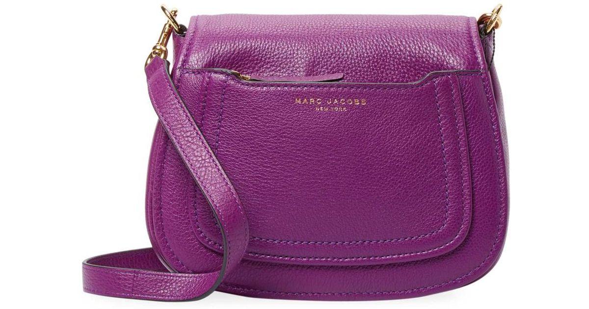efd6e49a39319 Lyst - Marc Jacobs Mini Leather Saddle Bag in Purple