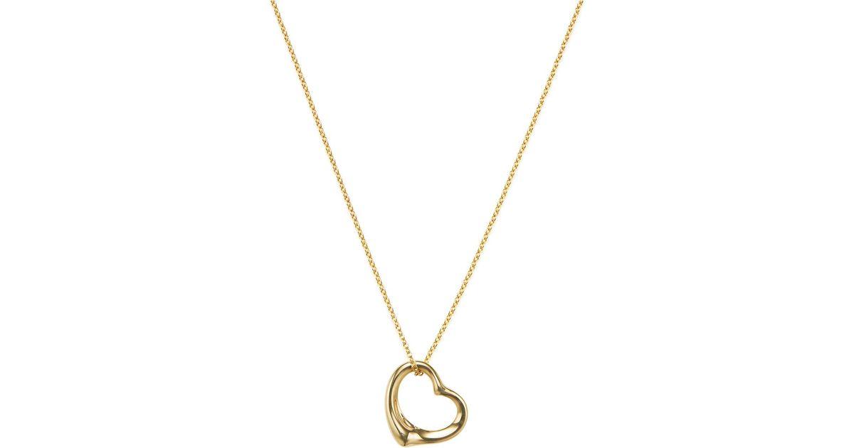 Lyst tiffany co vintage 18k open heart pendant necklace in metallic aloadofball Images