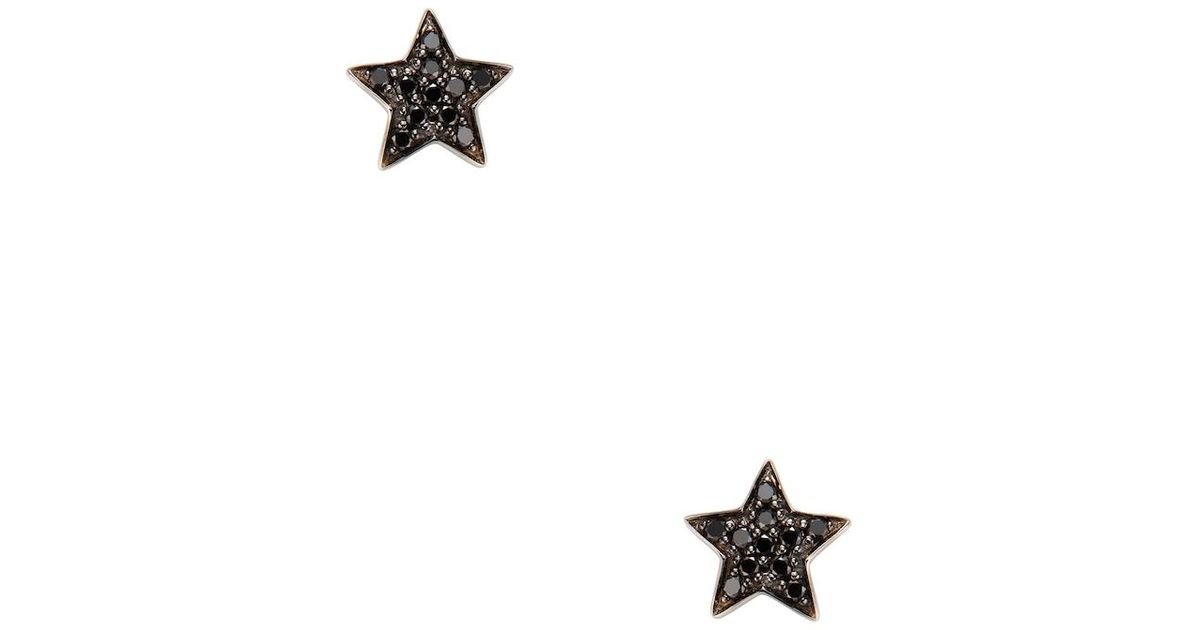 Lyst Nephora 14k White Gold 0 22 Total Ct Black Diamond Star Stud Earrings In