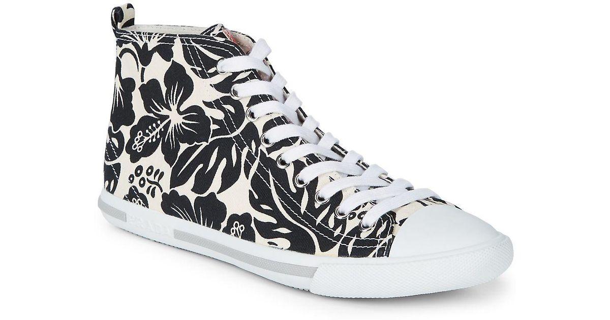 Pradaprinted hi-top sneakers À Vendre Sortie Grand Escompte L7nSy1myZ