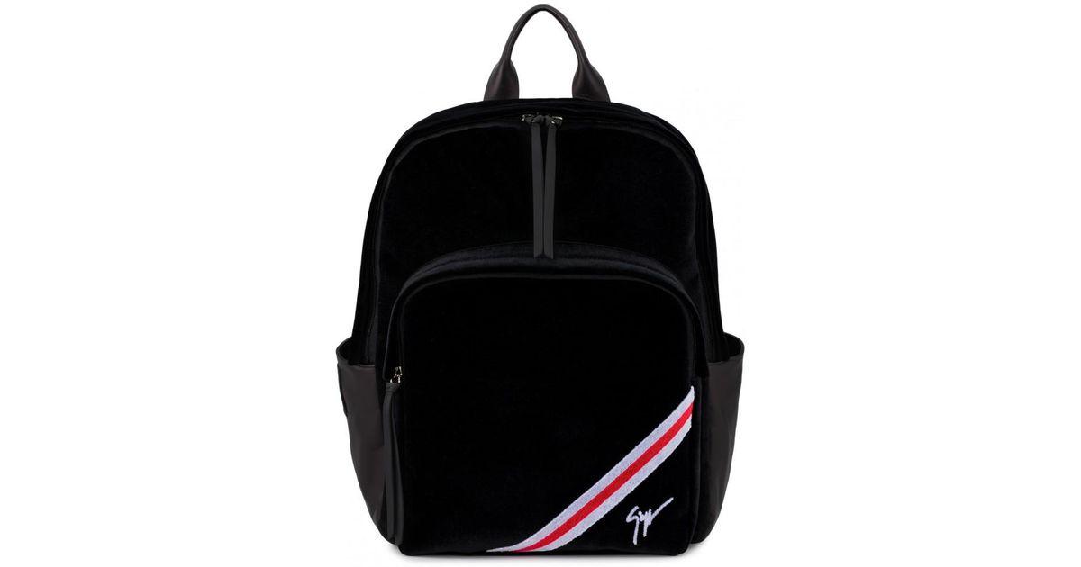 Lyst - Sac à dos en velours noir avec insertions rouges et blanches CHALMER Giuseppe  Zanotti pour homme en coloris Noir 0fe4c752c1b
