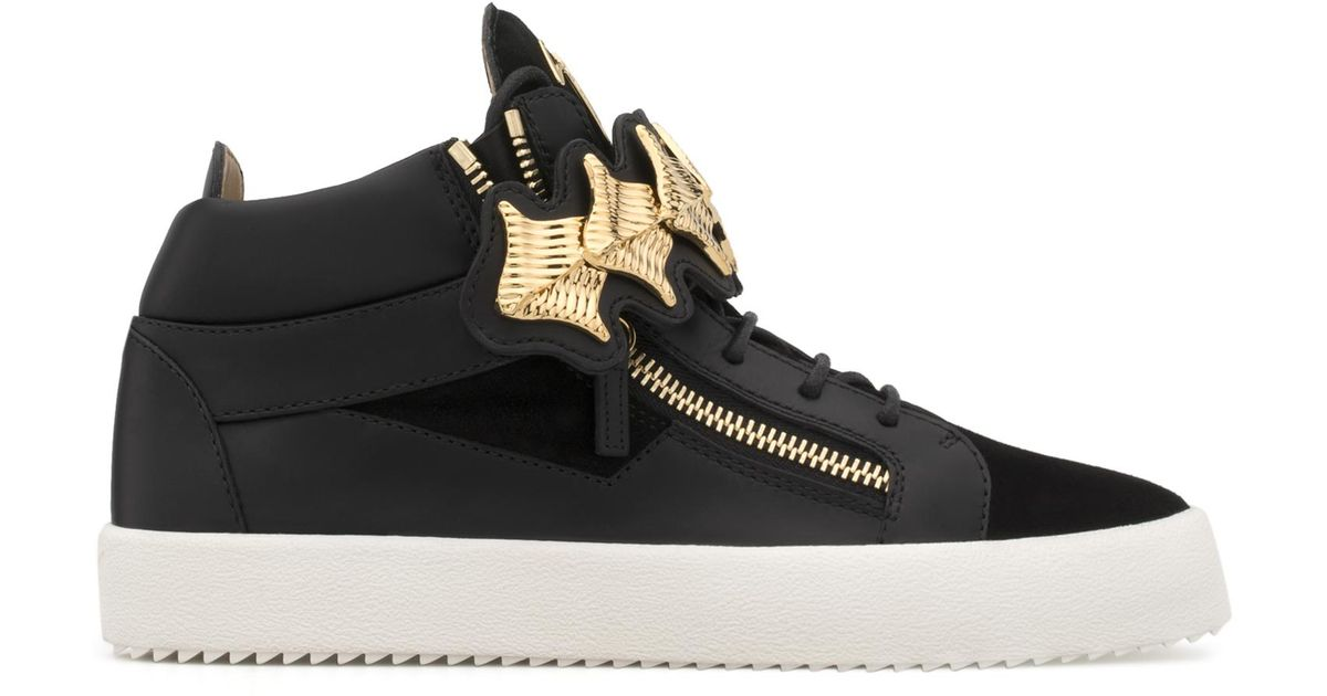 Giuseppe Zanotti Suede mid-top sneaker with gold accessories KANE 2VLWyZ8hO