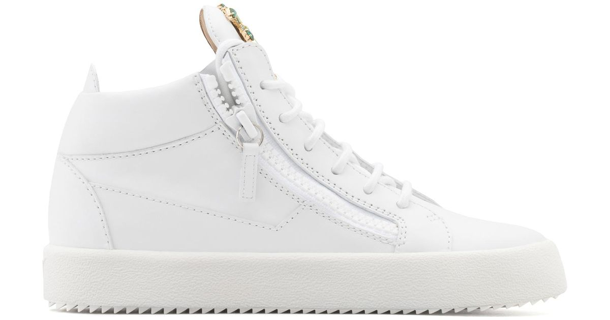 Giuseppe Zanotti Calfskin leather mid-top sneaker with crystals palm VENICE BEACH jKE2GuuI4H