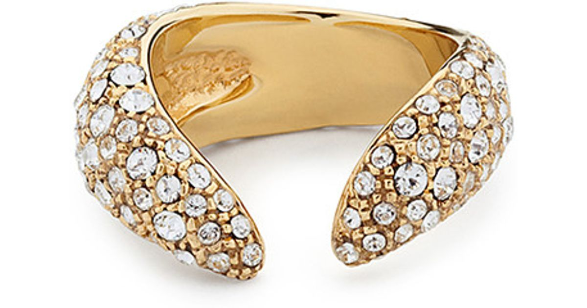Giuseppe Zanotti Gold-tone brass ring with crystals NAUSICA bM8v4p99Zc