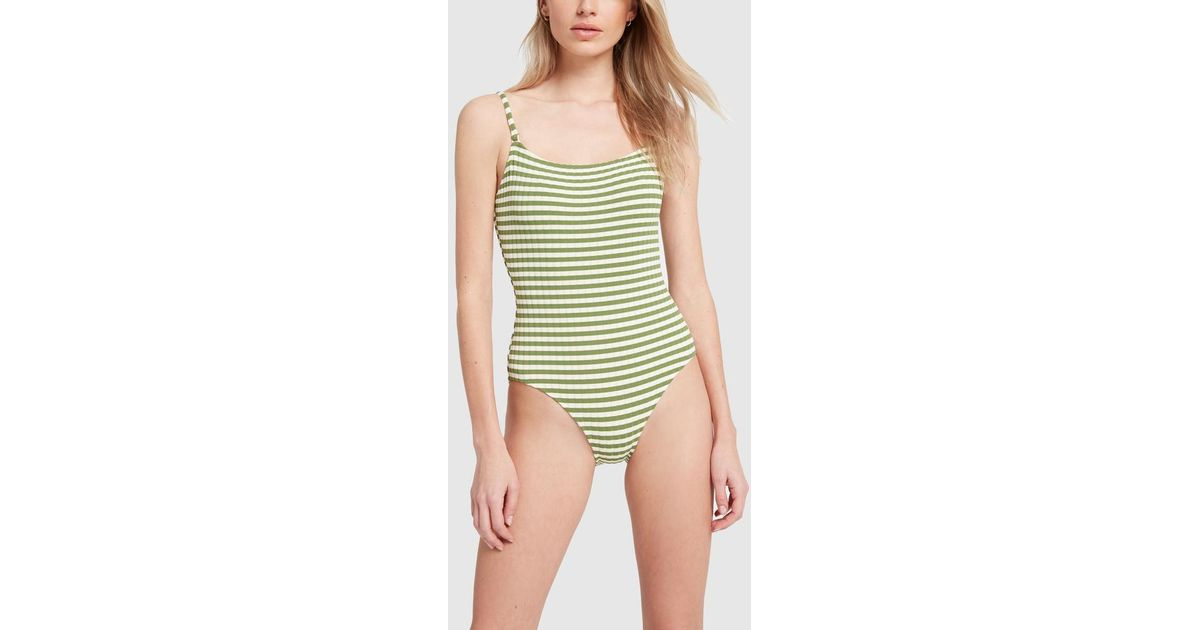 8f65d2c5dd31d8 Solid & Striped The Nina Grass Ribbed One-piece Swimsuit in Green - Save  13% - Lyst